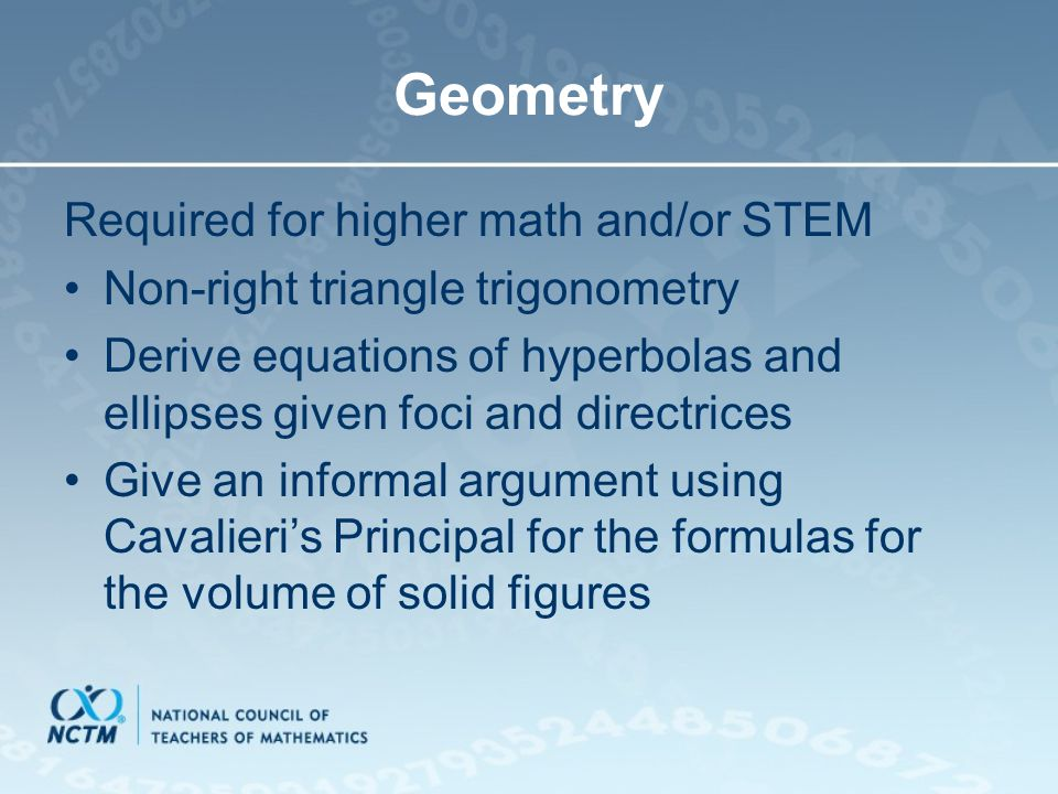 Geometry Required for higher math and/or STEM
