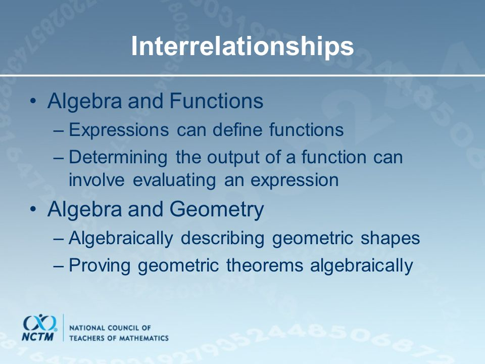 Interrelationships Algebra and Functions Algebra and Geometry