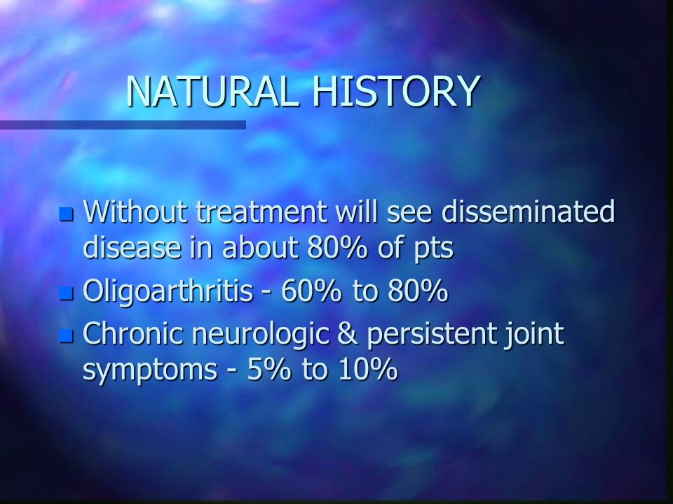 NATURAL HISTORY Without treatment will see disseminated disease in about 80% of pts. Oligoarthritis - 60% to 80%