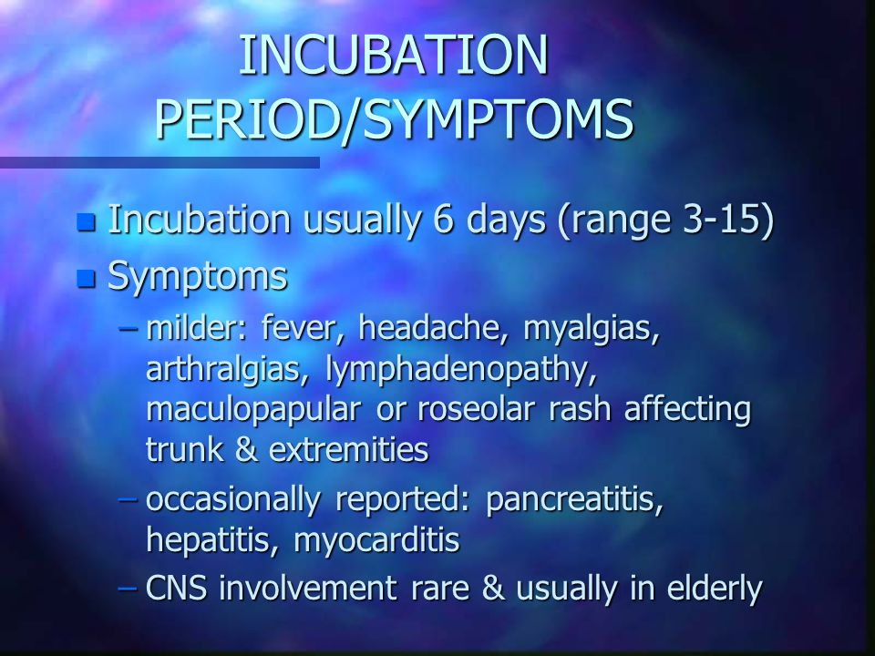 INCUBATION PERIOD/SYMPTOMS