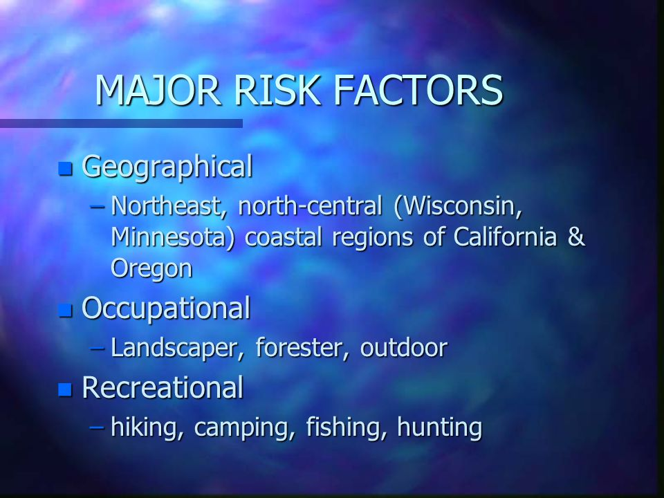 MAJOR RISK FACTORS Geographical Occupational Recreational