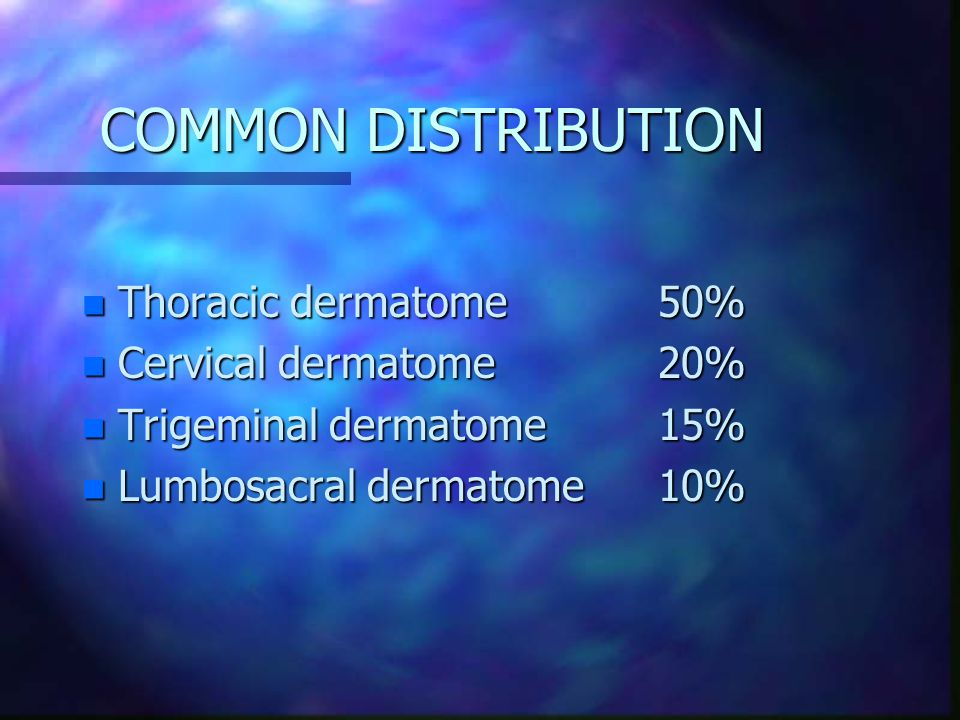 COMMON DISTRIBUTION Thoracic dermatome 50% Cervical dermatome 20%