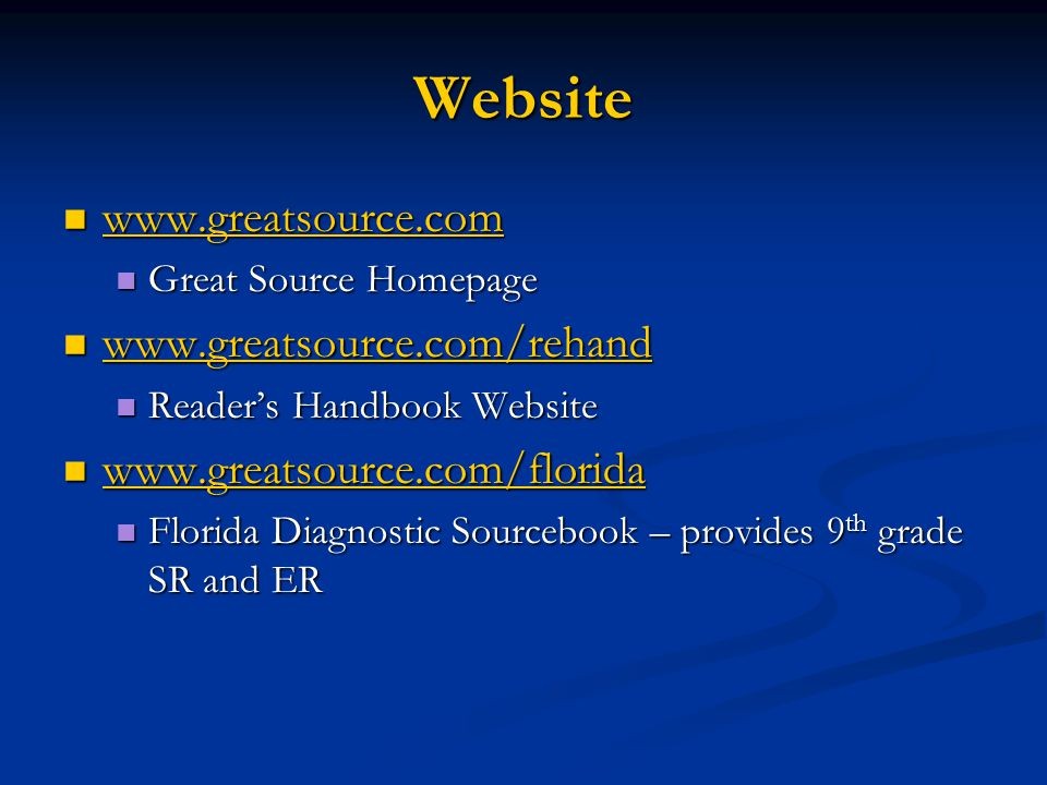 Website www.greatsource.com www.greatsource.com/rehand