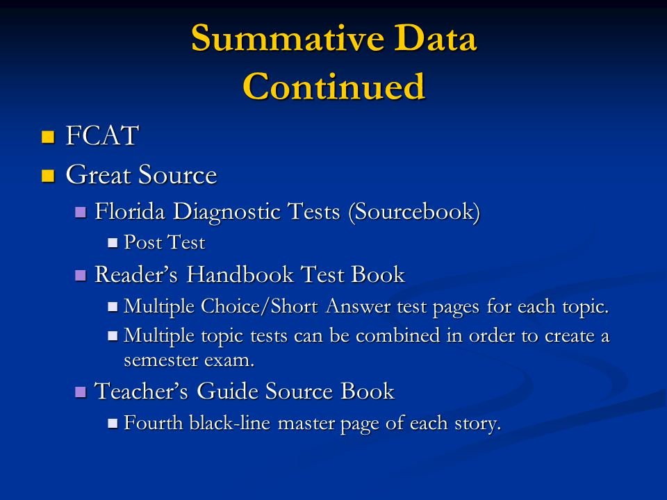 Summative Data Continued