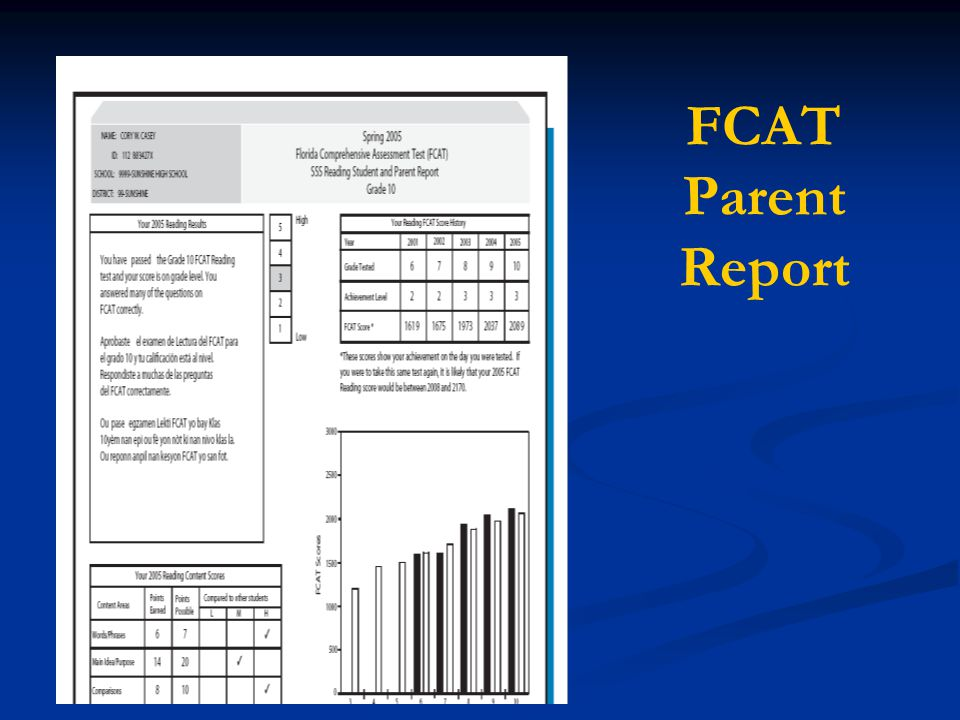 FCAT Parent Report We are going to look at a printout of an FCAT report. You have a copy of this in your handout packet.