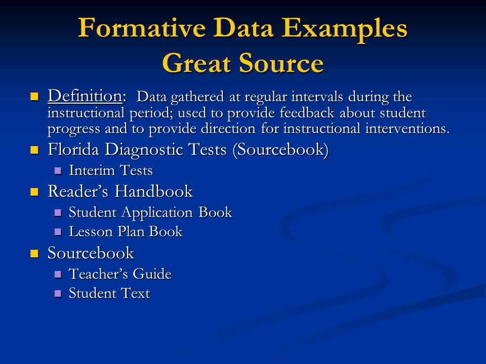 Formative Data Examples Great Source