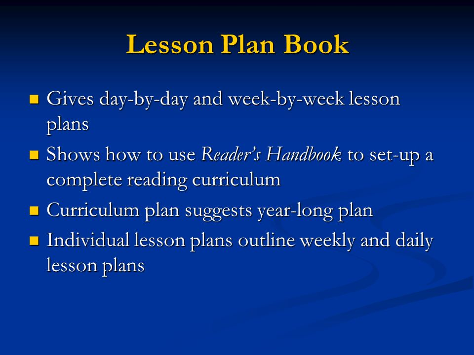 Lesson Plan Book Gives day-by-day and week-by-week lesson plans