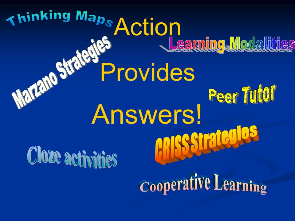 Answers! Action Provides Thinking Maps Learning Modalities