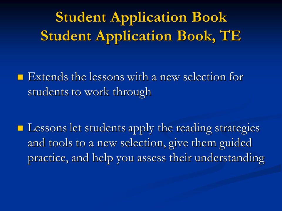 Student Application Book Student Application Book, TE