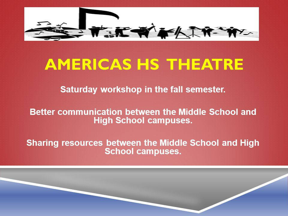 Americas HS theatre Saturday workshop in the fall semester.