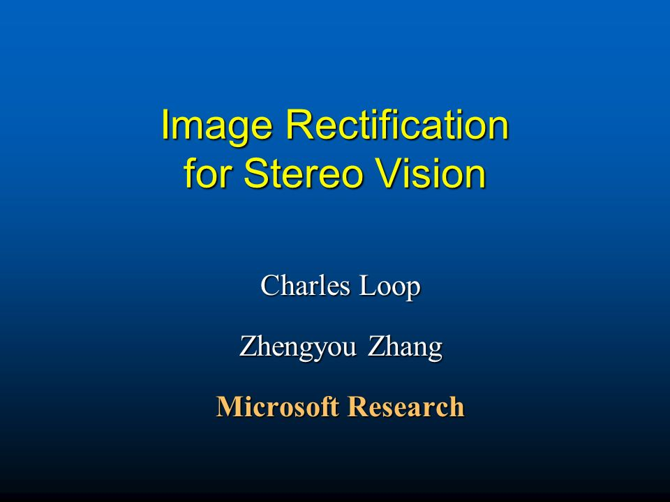 Image Rectification for Stereo Vision
