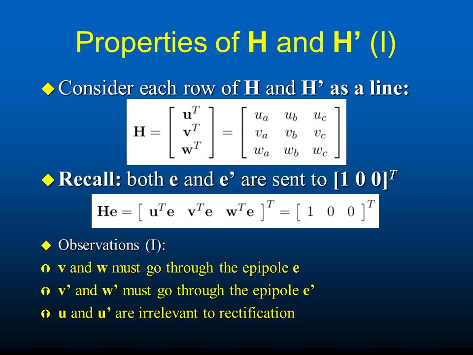Properties of H and H' (I)