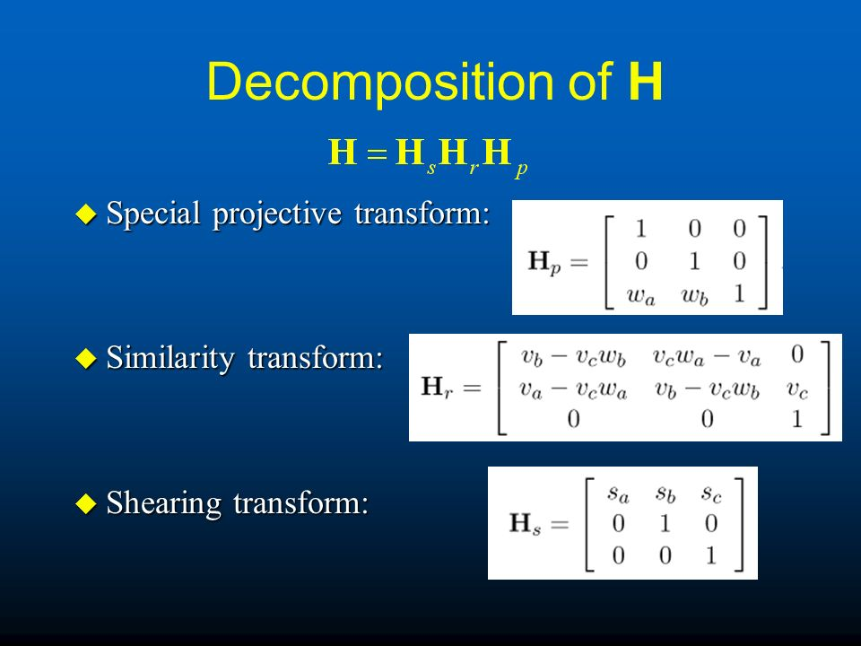Decomposition of H Special projective transform: Similarity transform: