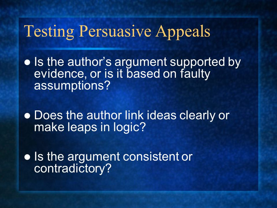Testing Persuasive Appeals