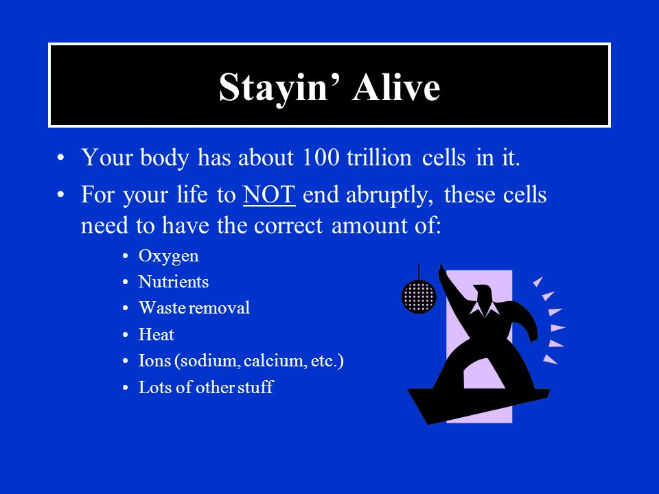 Stayin' Alive Your body has about 100 trillion cells in it.