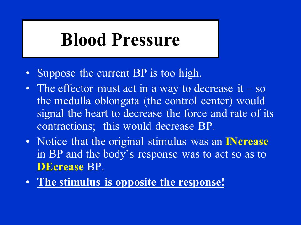 Blood Pressure Suppose the current BP is too high.