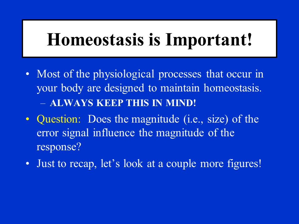Homeostasis is Important!