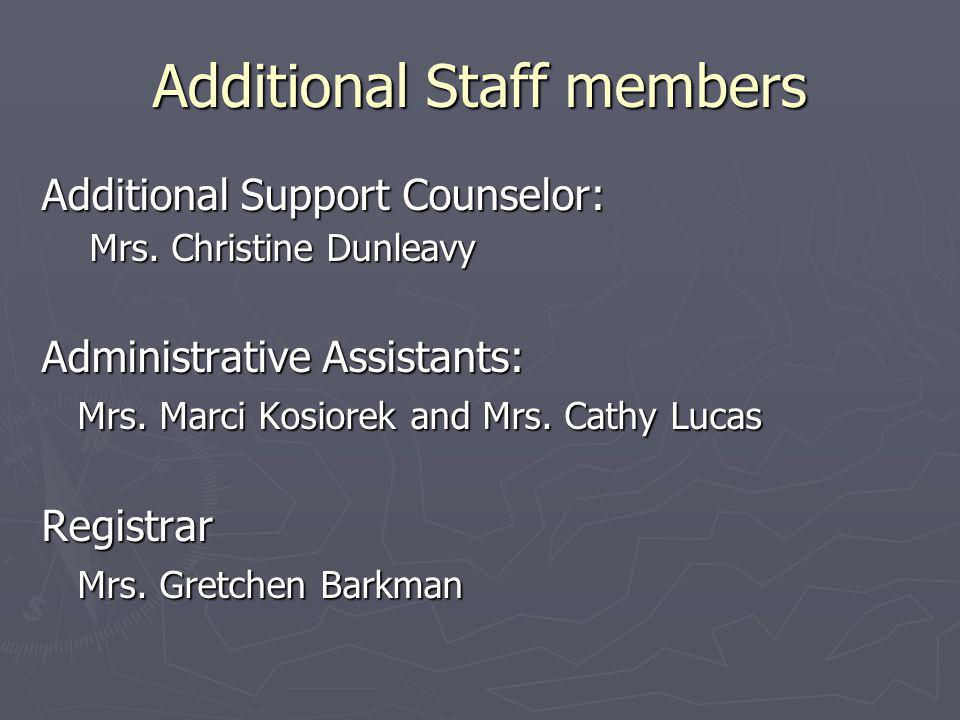 Additional Staff members