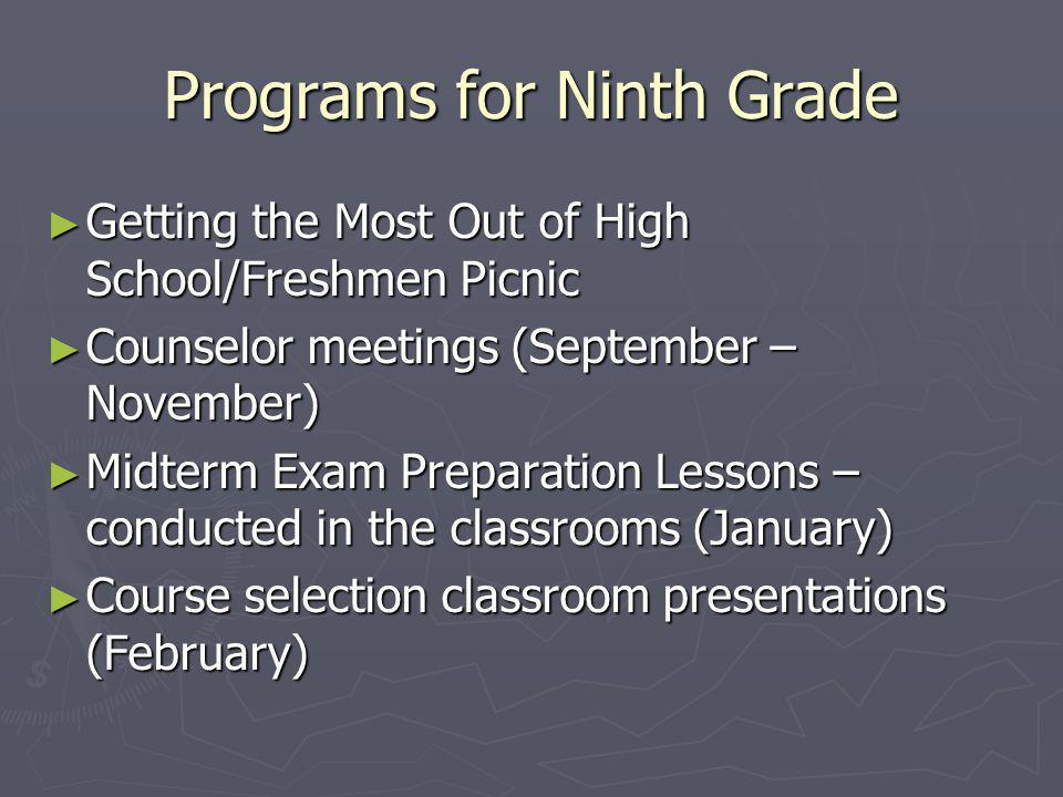 Programs for Ninth Grade