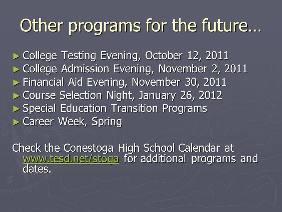 Other programs for the future…