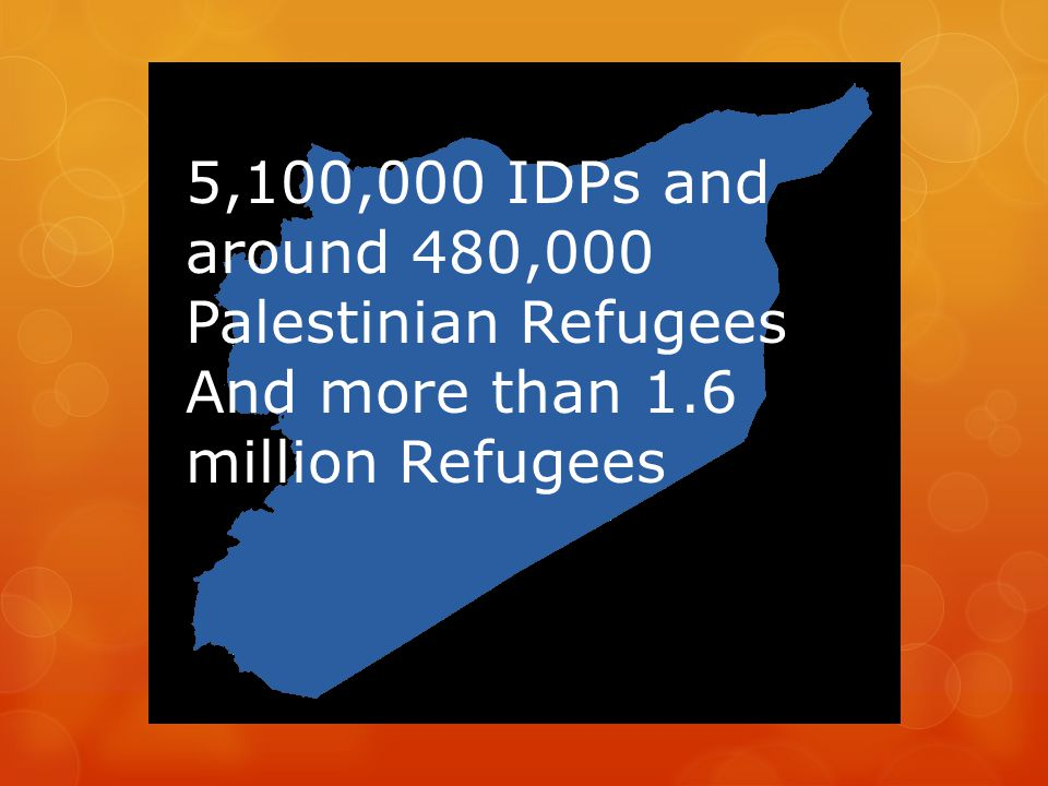 5,100,000 IDPs and around 480,000 Palestinian Refugees
