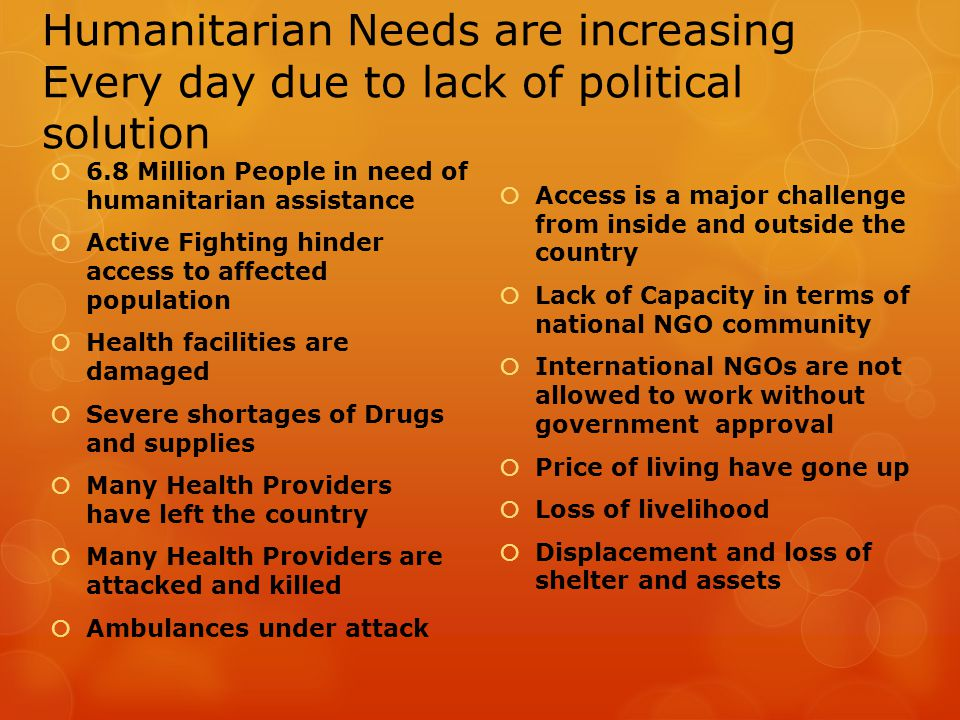 Humanitarian Needs are increasing Every day due to lack of political solution