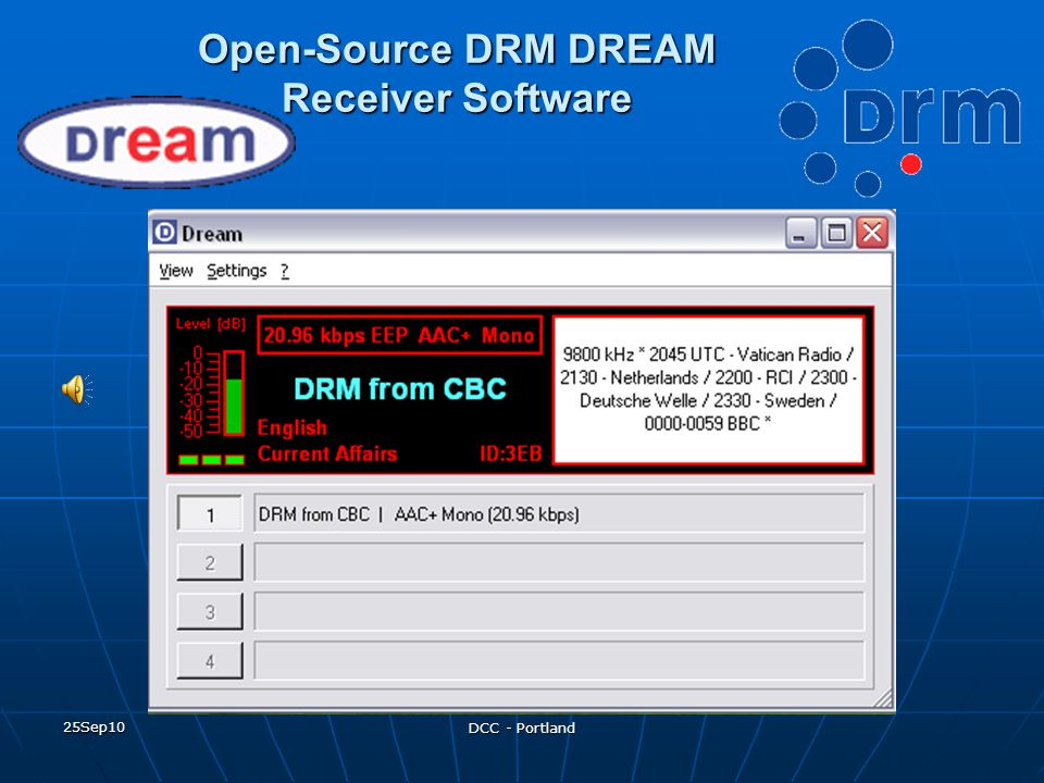 Open-Source DRM DREAM Receiver Software
