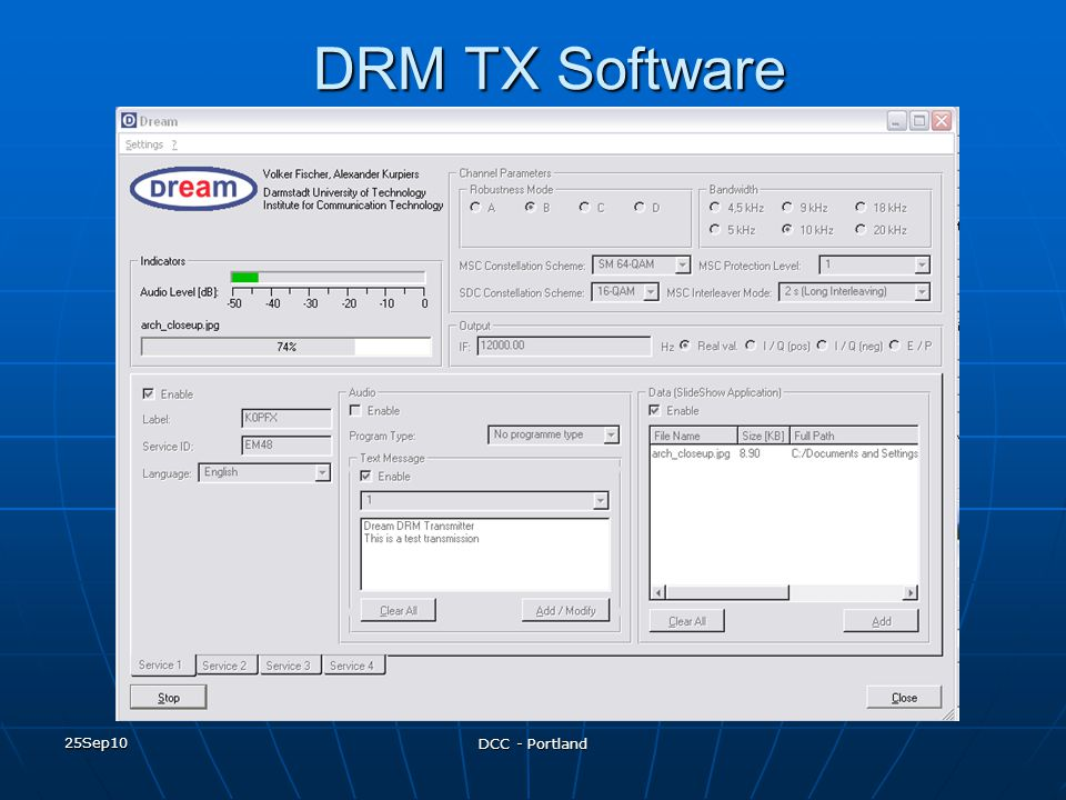 DRM TX Software 25Sep10 DCC - Portland