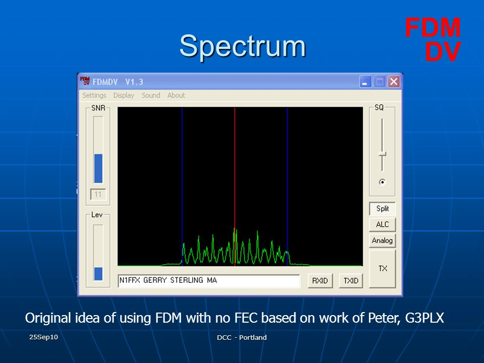 FDM Spectrum. DV. Original idea of using FDM with no FEC based on work of Peter, G3PLX. 25Sep10.