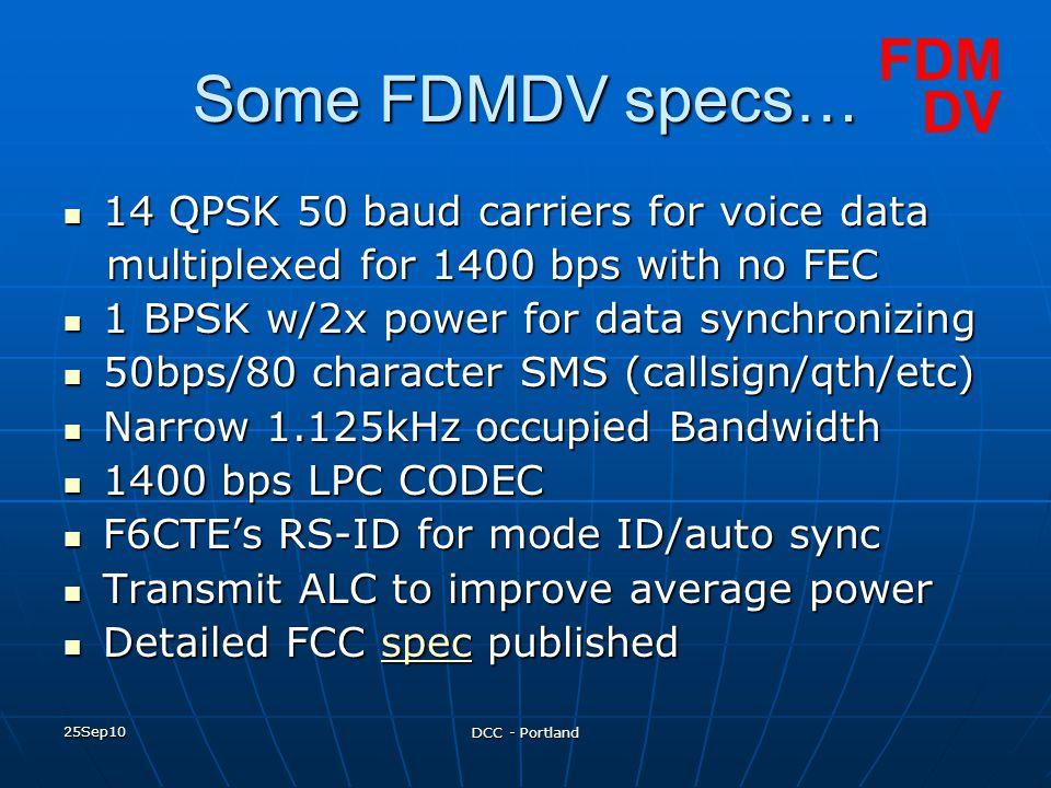 Some FDMDV specs… FDM DV 14 QPSK 50 baud carriers for voice data