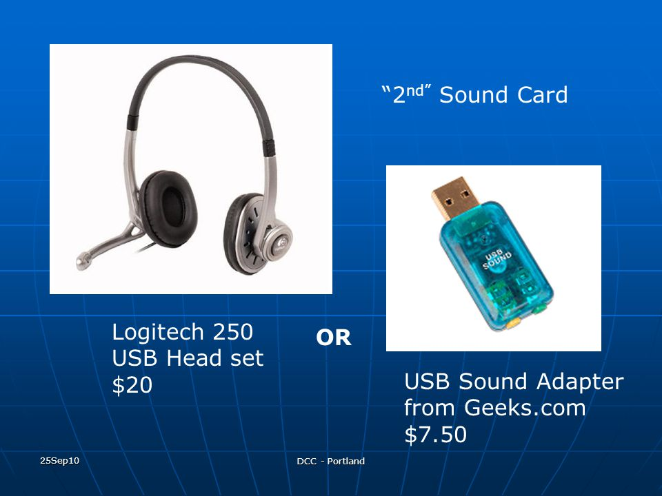 USB Sound Adapter from Geeks.com $7.50