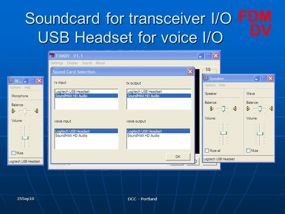 Soundcard for transceiver I/O USB Headset for voice I/O