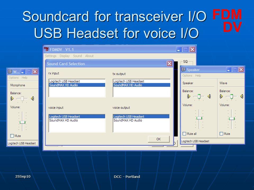 Soundcard for transceiver I/O USB Headset for voice I/O