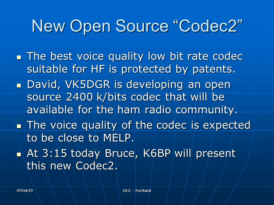 New Open Source Codec2