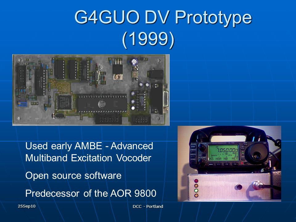 G4GUO DV Prototype (1999) Used early AMBE - Advanced Multiband Excitation Vocoder. Open source software.