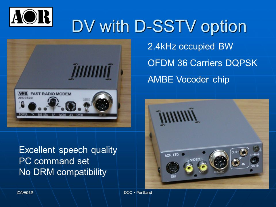 DV with D-SSTV option 2.4kHz occupied BW OFDM 36 Carriers DQPSK