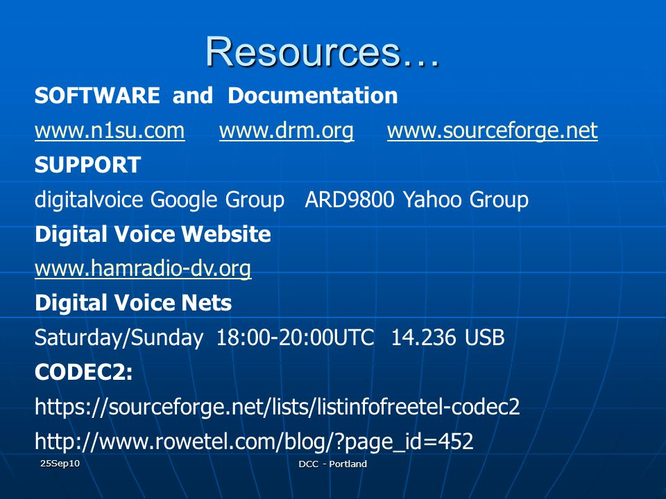 Resources… SOFTWARE and Documentation