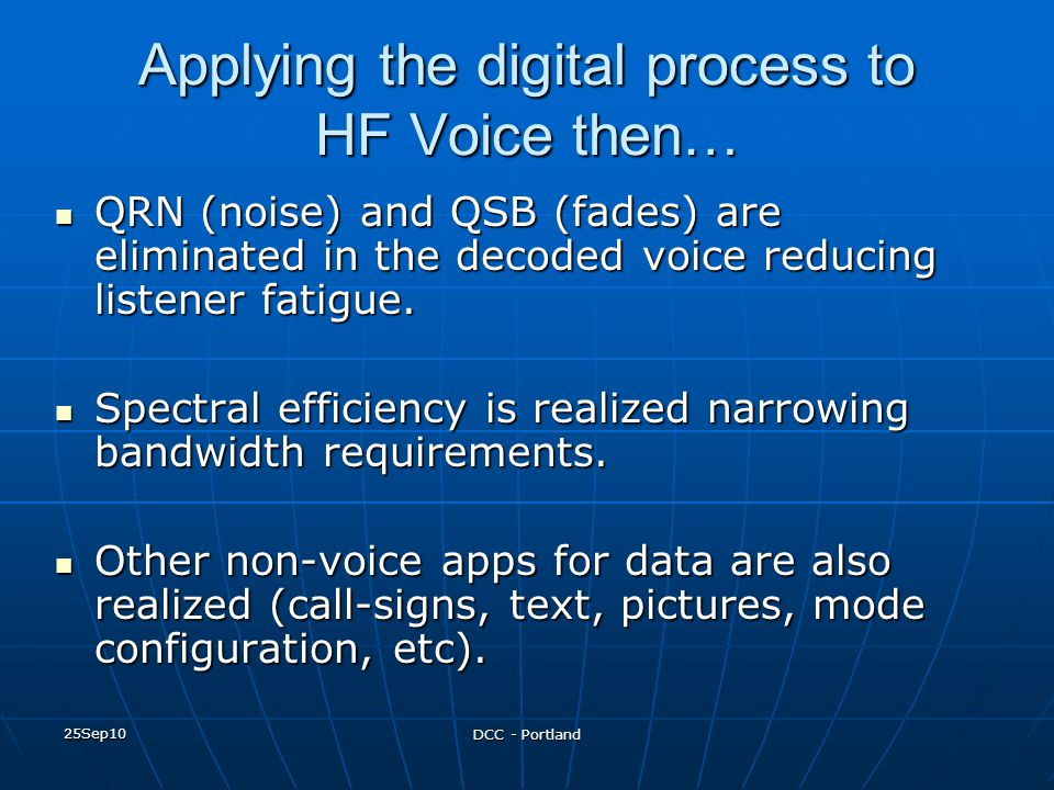 Applying the digital process to HF Voice then…