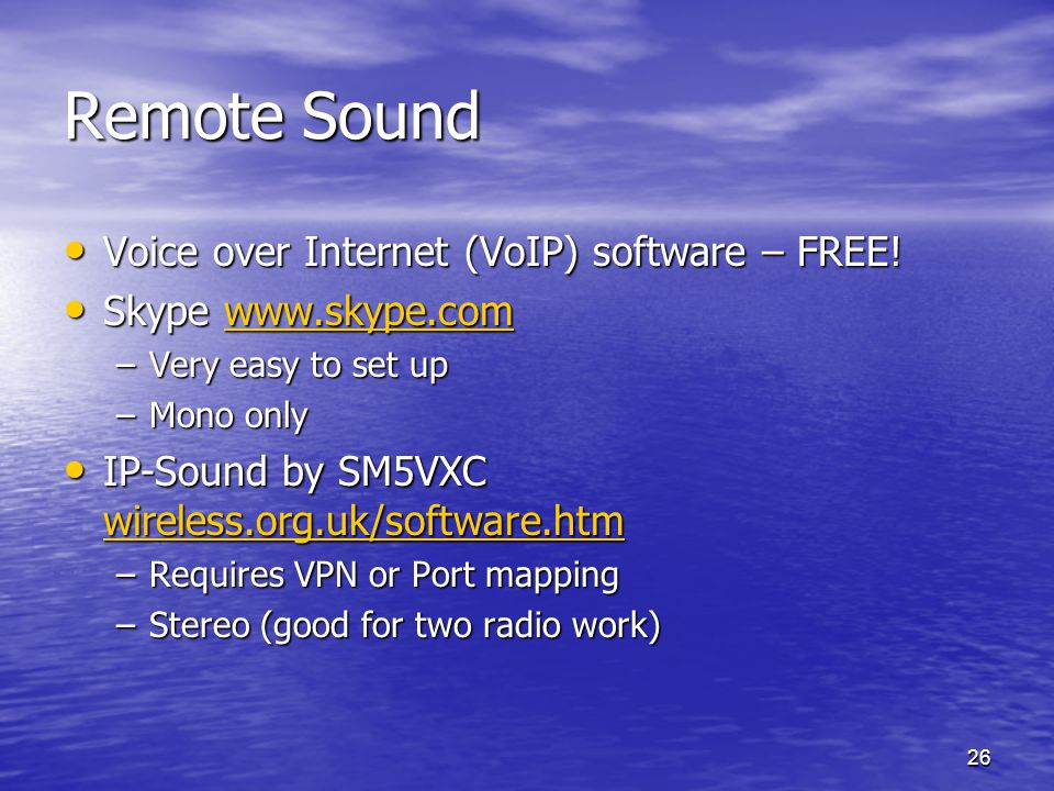 Remote Sound Voice over Internet (VoIP) software – FREE!
