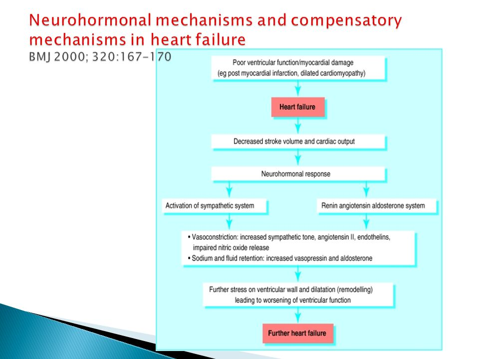 Neurohormonal mechanisms and compensatory mechanisms in heart failure BMJ 2000; 320:167-170
