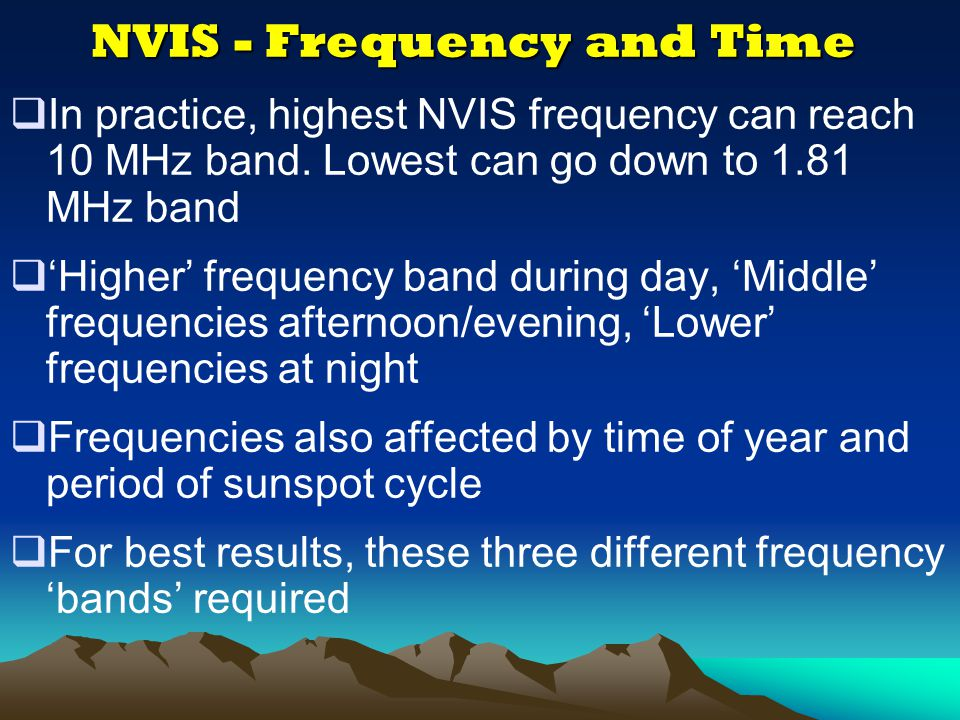 NVIS - Frequency and Time
