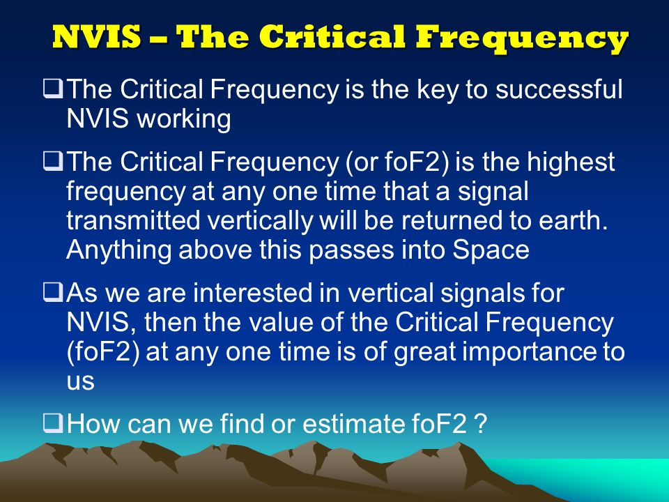 NVIS – The Critical Frequency