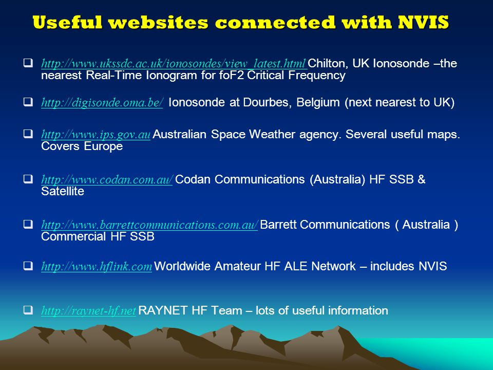 Useful websites connected with NVIS