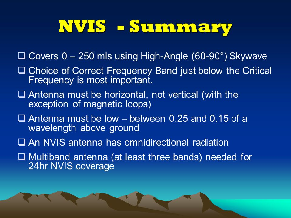 NVIS - Summary Covers 0 – 250 mls using High-Angle (60-90°) Skywave