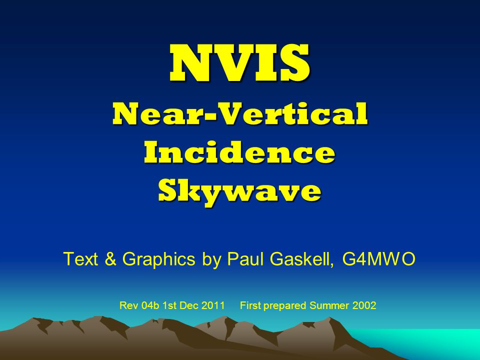 NVIS Near-Vertical Incidence Skywave