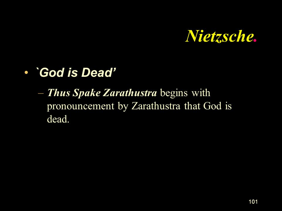 Nietzsche. `God is Dead'