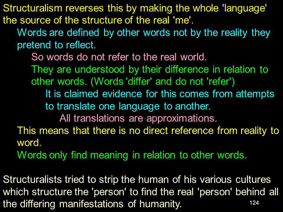 Structuralism reverses this by making the whole language the source of the structure of the real me .