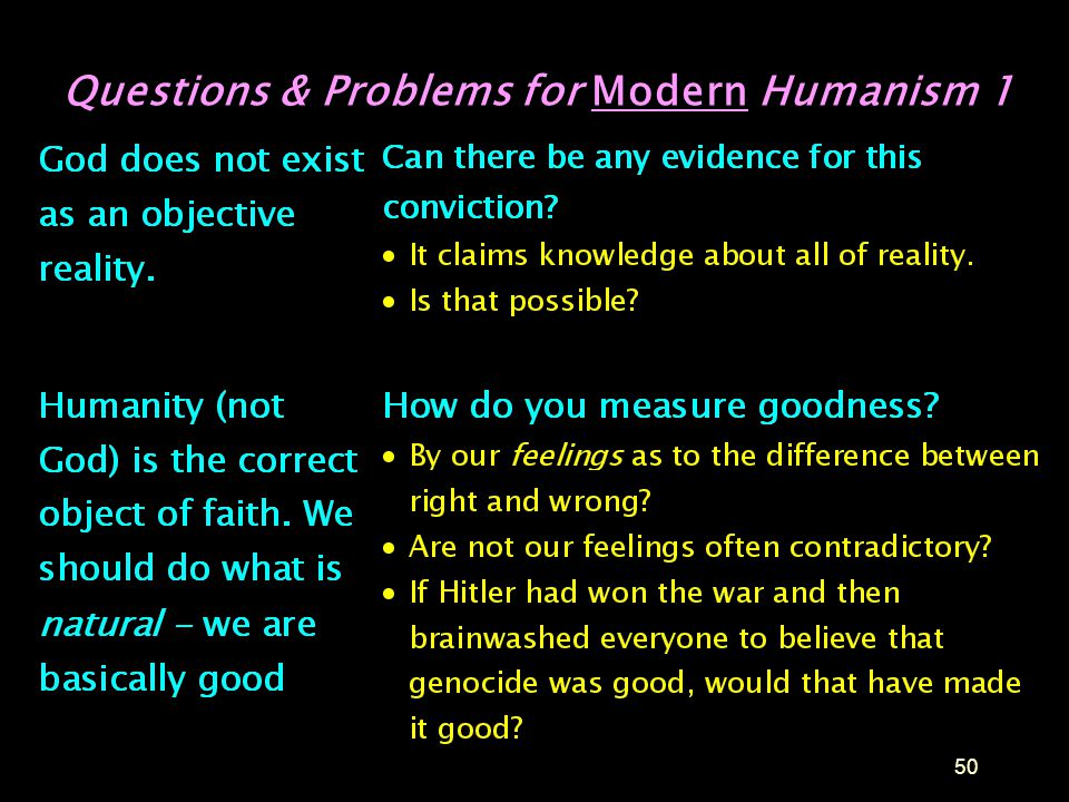 Questions & Problems for Modern Humanism 1
