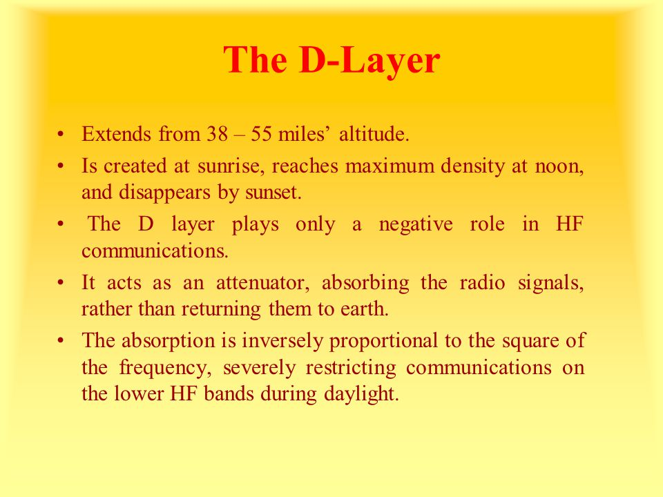 The D-Layer Extends from 38 – 55 miles' altitude.