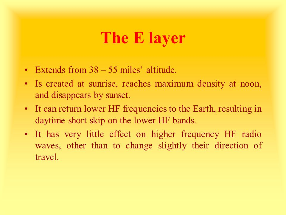 The E layer Extends from 38 – 55 miles' altitude.